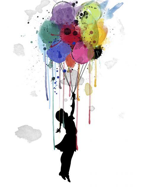 Poster Voando com balões