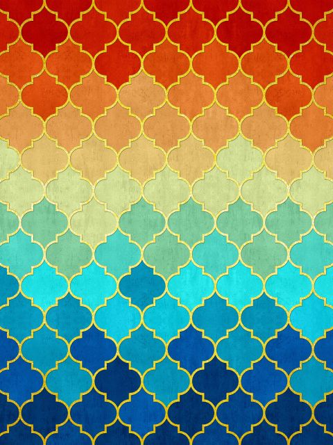 Poster Mosaico dourado com pôr de sol
