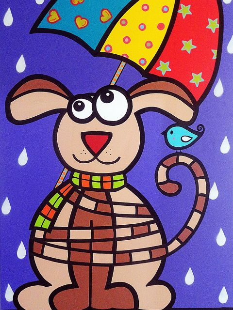 Poster Dog na chuva