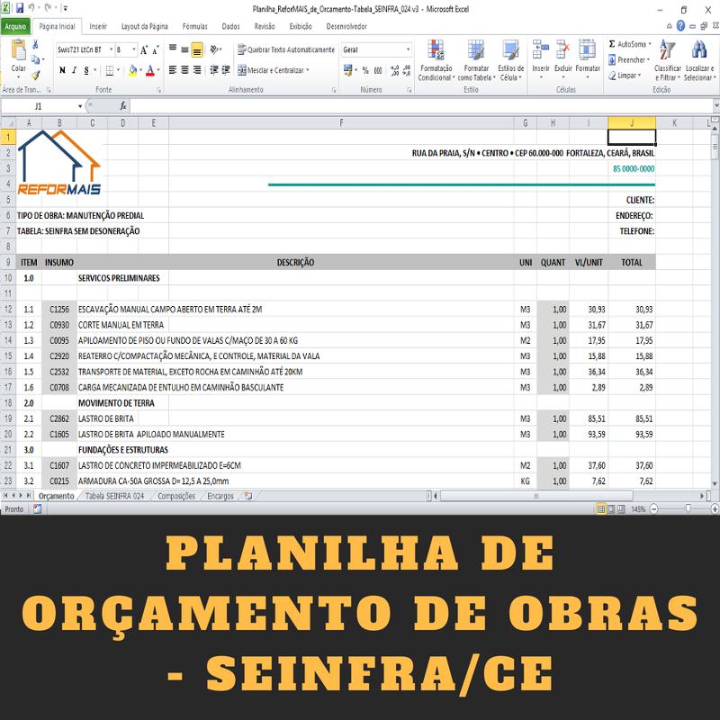 Planilha de Orçamento integrada com a Tabela 026 da SEINFRA/CE