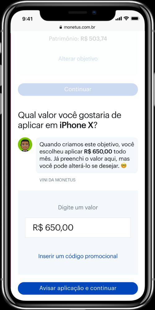 Smartphone exibindo a tela de cadastro da Monetus