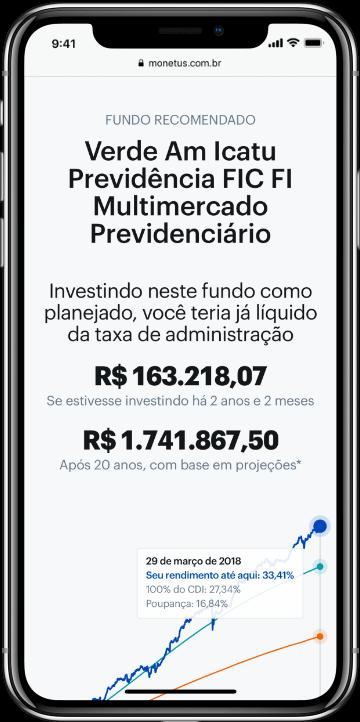 Smartphone com simulação de um plano de previdencia privada