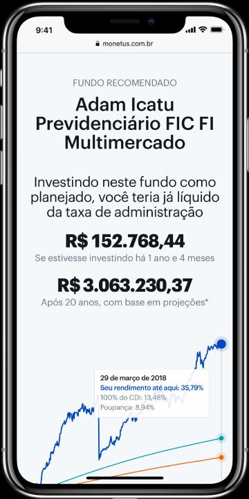 Smartphone exibindo um gráfico com o excelente retorno de um dos fundos sugerido