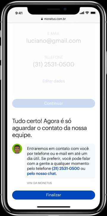 Smartphone com tela final do processo de sugestão