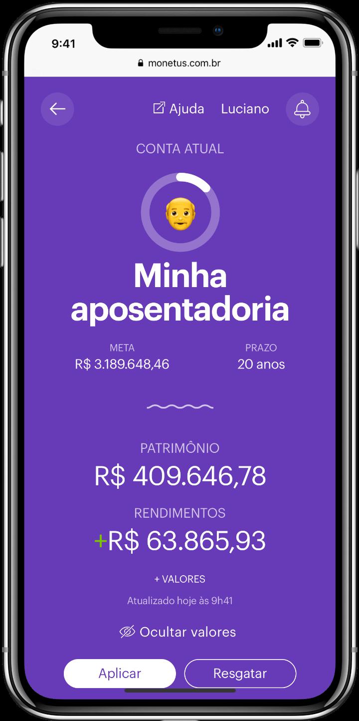 Smartphone com tela de uma conta de renda mensal