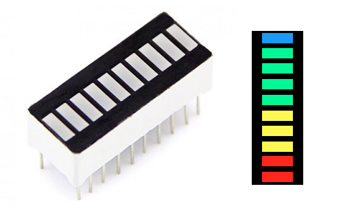 Barra de LEDs de 10 segmentos – 4 cores