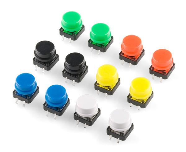 Conjunto de botões tácteis coloridos