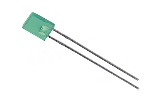 LED retangular verde - 10 unidades