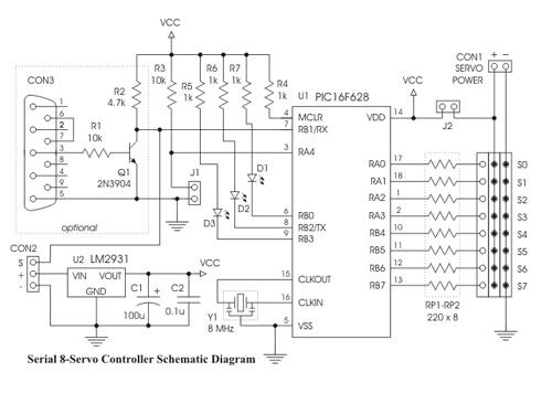Controlador serial PIC para 8 servos