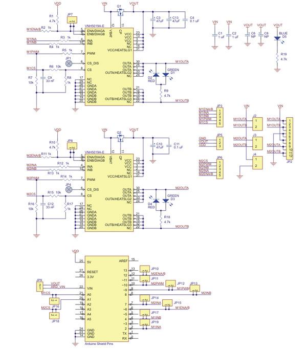 Shield controlador duplo de motores VNH5019 Pololu