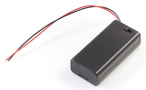 Caixa suporte para pilhas 2xAA com chave