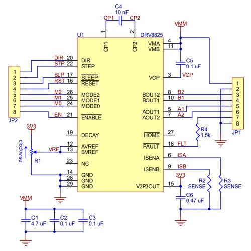 Controlador de motor de passo alta corrente 20A DRV8825