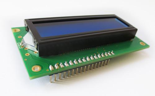Display LCD 2x16 com conector soldado – branco sobre azul