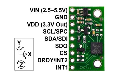 Giroscópio triaxial L3GD20 com regulador de voltagem