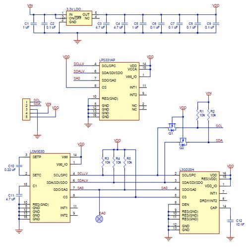 Unidade de medição inercial 10DOF AltIMU-10 v3
