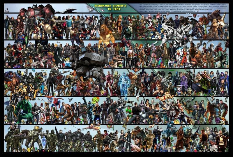 Poster com 425 personagens de videogames