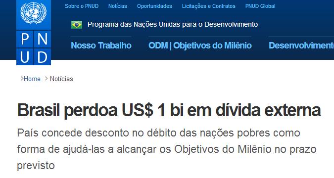 PNUD Brasil   Brasil perdoa US  1 bi em dívida externa