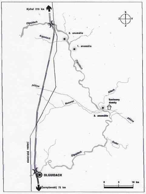 A posição das anomalias no mapa