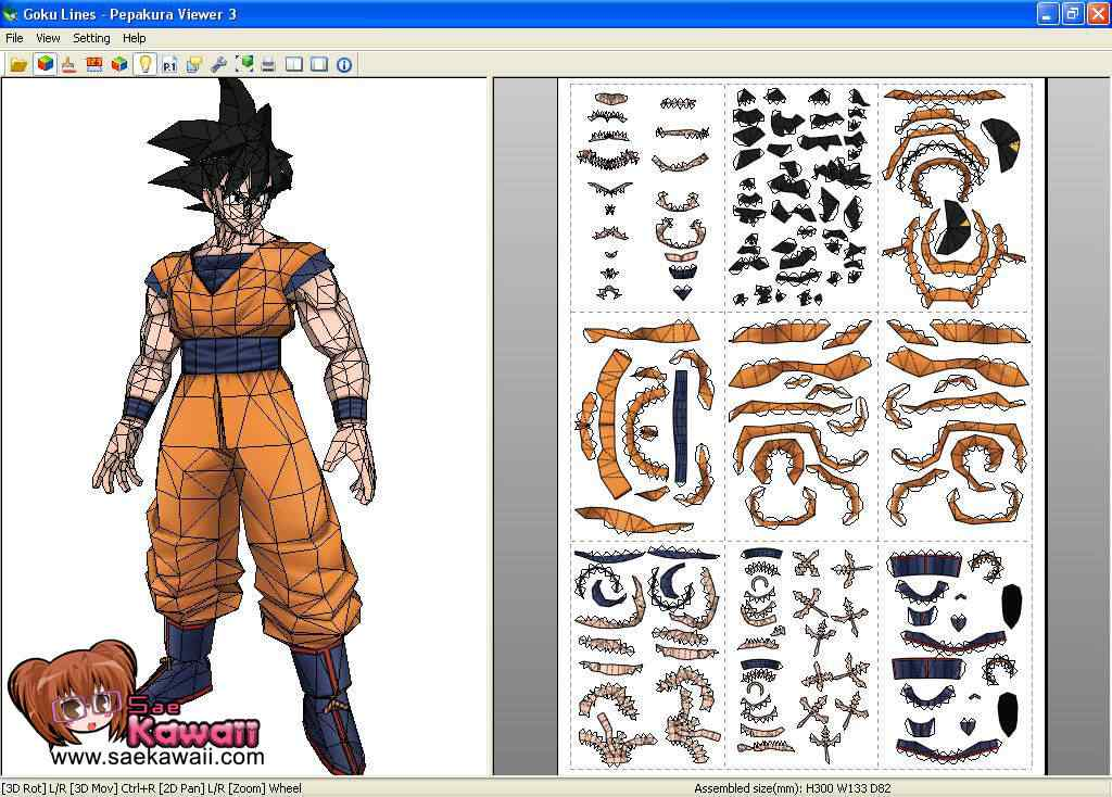 paper craft papel modelo molde tutorial onde baixar download toy GOKU