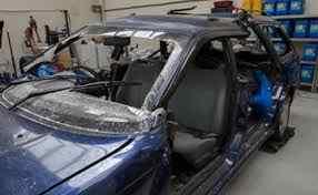 O carro destruído