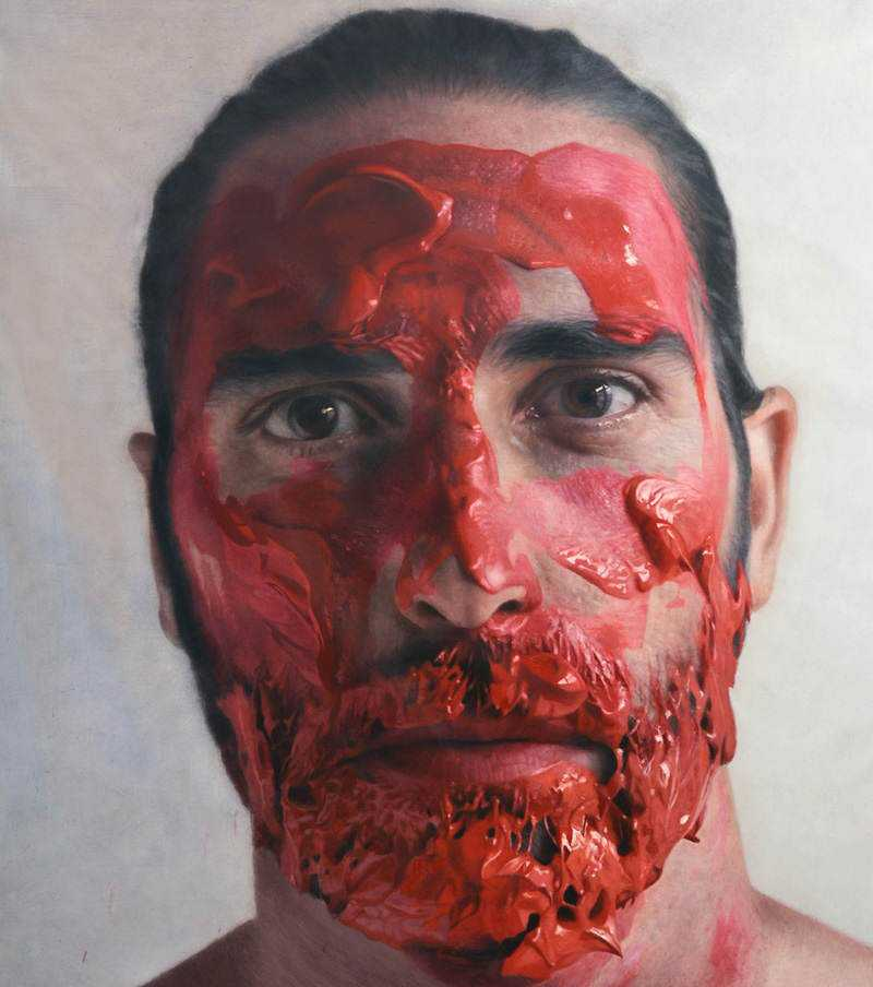 hyperrealistic self portraits paint on face by eloy morales 10 Isso não é a foto de um sujeito com tinta na cara