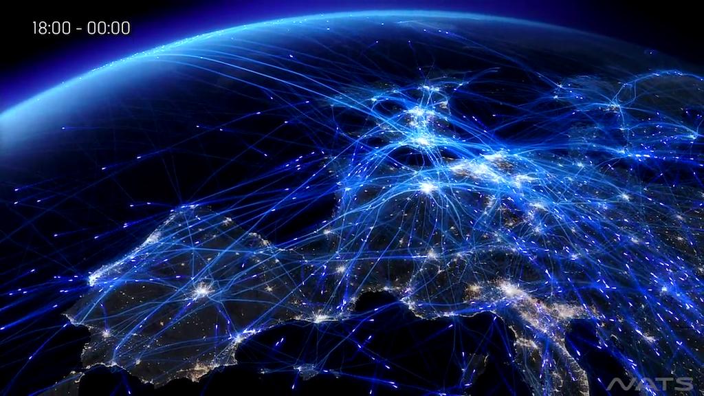 Grafico de voos em 24 horas sobre a europa