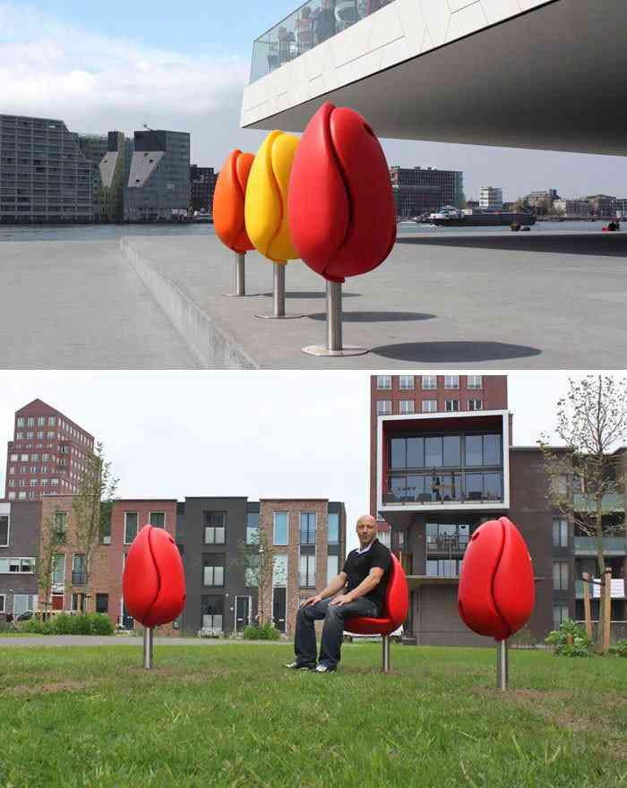 Bancos em forma de tulipa