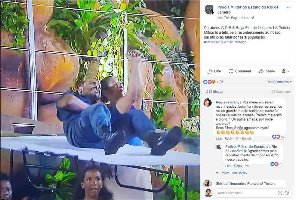 PM do RJ parabeniza Beija-Flor por homenagem feita durante desfile aos policiais mortos e feridos no Rio (Foto: Reprodução)