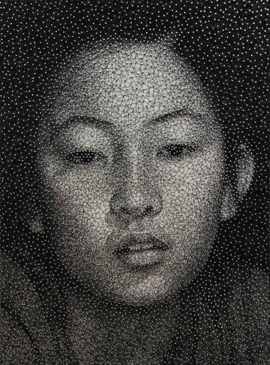 727910Kumi Yamashita thread 550x743 Arte com linhas e pregos