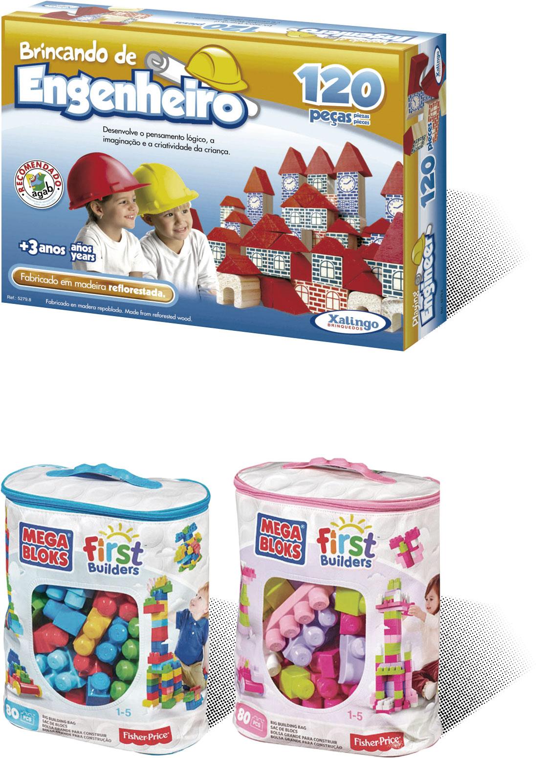 Brinquedos Megablocks e Brincando de Engenheiro