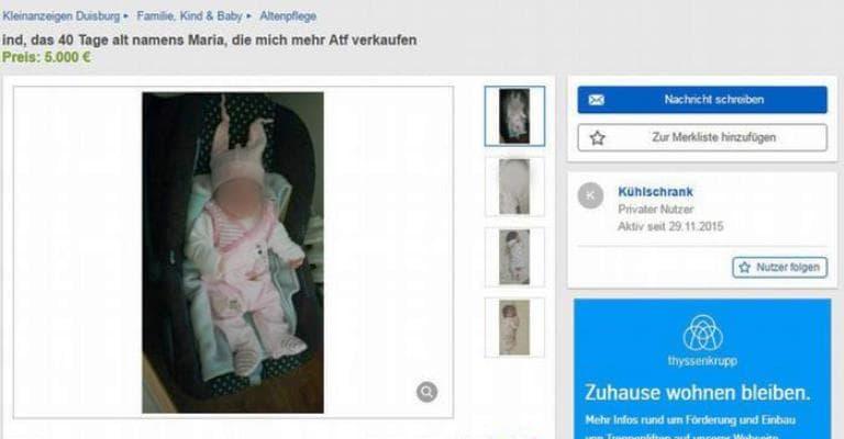 Polícia alemã investiga venda de bebê no Ebay