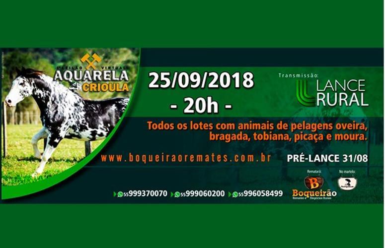 Boqueirão Remates traz o 1º Leilão Virtual Aquarela Crioula