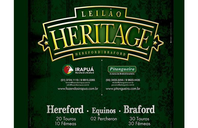 Leilão Heritage oferta animais Hereford e Braford