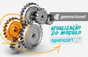 Ilustração de engrenagens e texto escrito Atualização de módulo Opencart