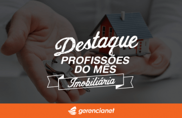 Imagem escrito: Destaque profissões do mês imobiliária com duas mãos segurando chaves e uma casa pequena