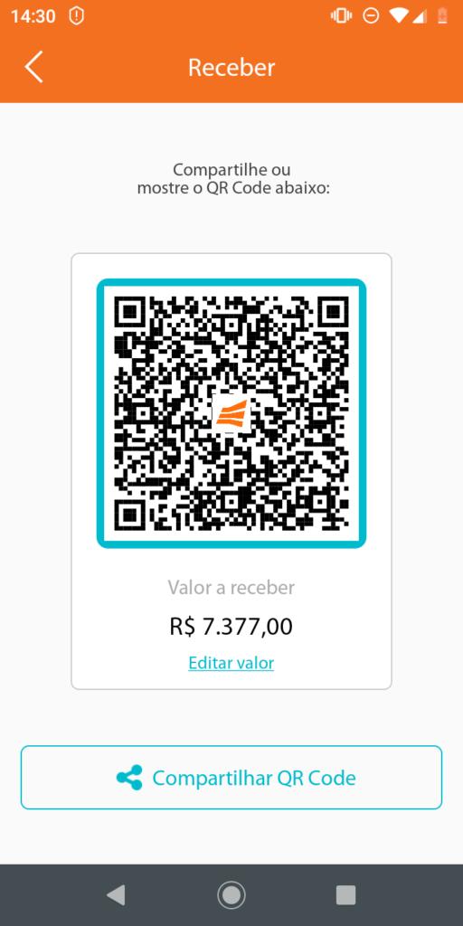 Função Receber por QR Code no app Gerencianet