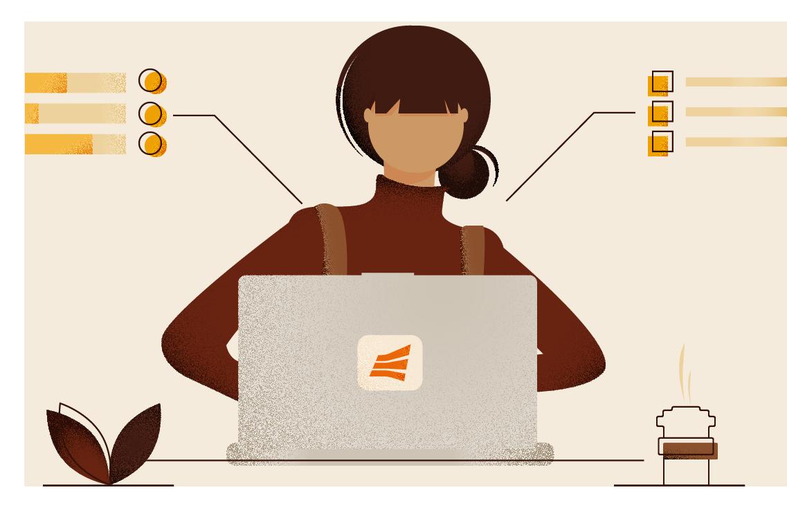 Na imagem: ilustração de uma pessoa desenvolvedora utilizando um notebook, representando o desenvolvimento da API do Pix