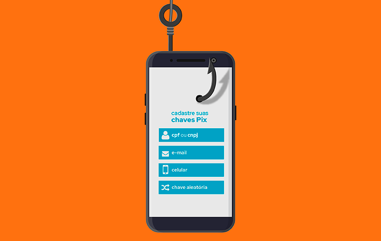 Na imagem: ilustração de um smartphone, com a tela de registro das chaves do Pix, sendo fisgado por um gancho, representando o golpe no cadastro do pix para roubar dados confidenciais dos usuários.