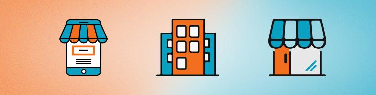 Na imagem: ícones que ilustram o varejo físico, grandes empresas e ecommerces; tipos de negócio que podem integrar com a API Pix da Gerencianet