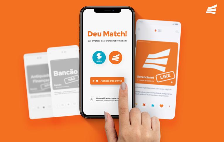 """Celular com tela semelhante à tela do Tinder, com dizerem """"Deu Match!"""", indicando que a Conta Digital MEI Gerencianet combina com o seu negócio."""