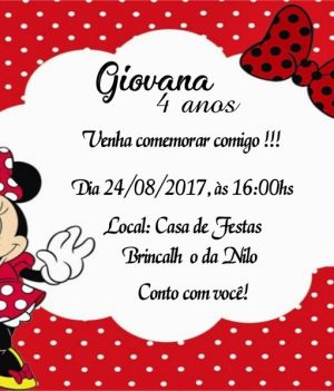 Convite de aniversario do Mickey e da Minnie modelo 6