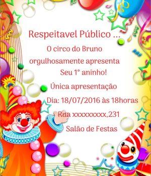 Convite infantil Circo de aniversario modelo 3
