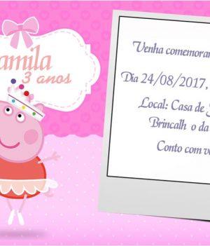 Convites da Peppa Pig modelo 3