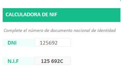 Planilla de Excel para Calcular el NIF (España)