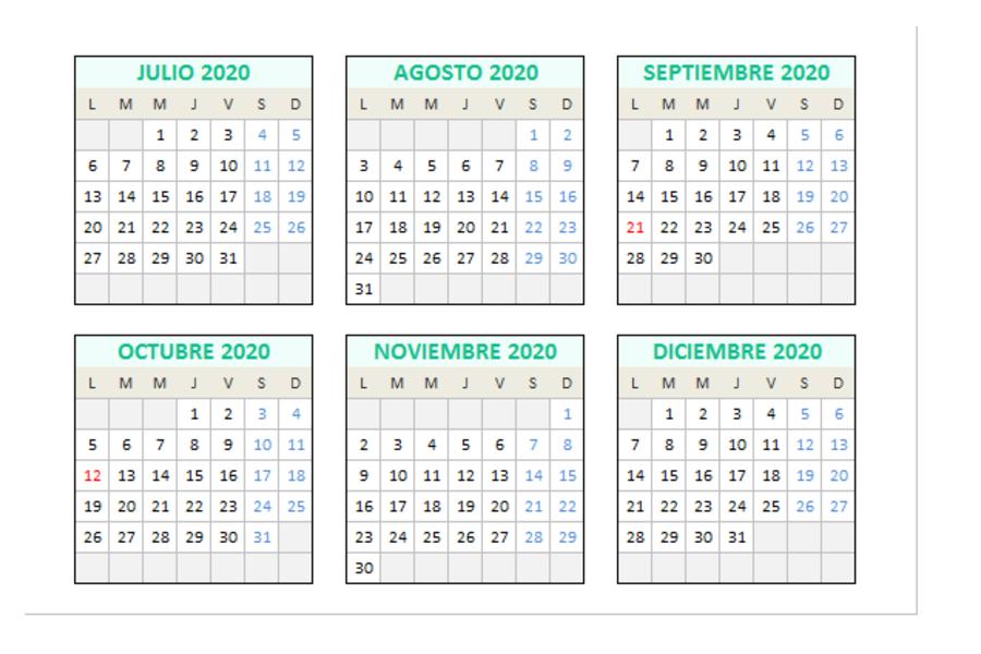 Calendario 2020 en Excel