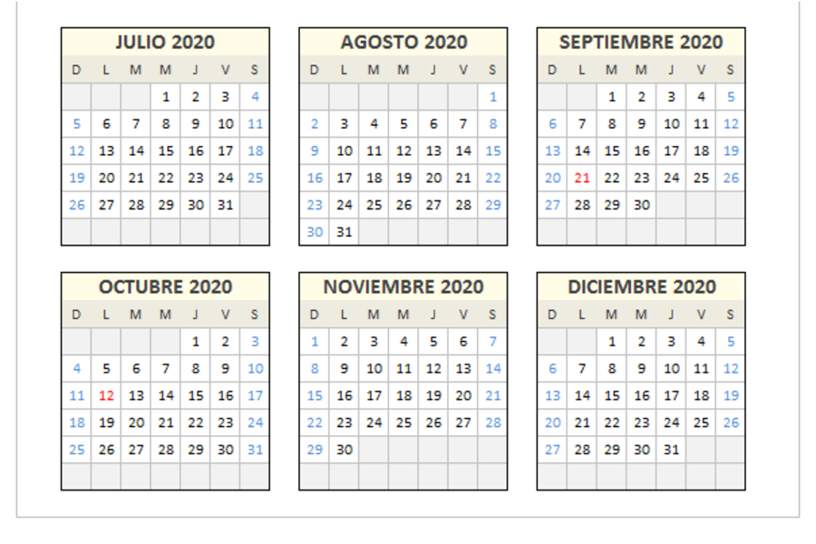 Calendario 2020 domingo a sábado