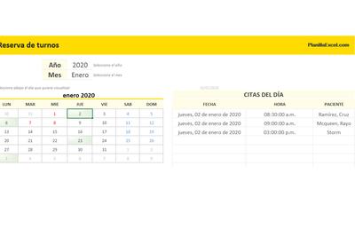 Planilla de Excel para Reserva de Turnos de Pacientes
