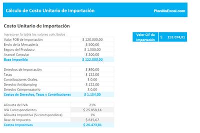 Planilla de Excel de Cálculo de Costo Unitario de Importación