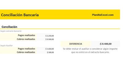 Planilla de Excel para Conciliacion Bancaria