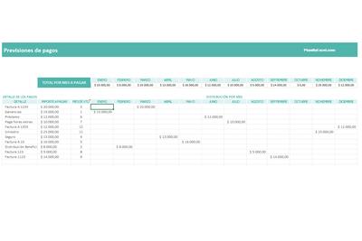 Planilla de Excel para Previsiones de Pagos